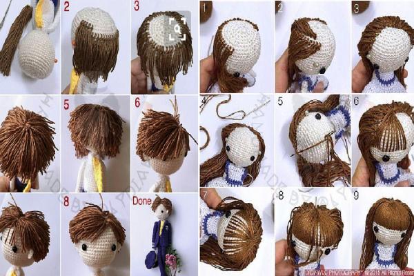 amigurumi bebek saç yapımı